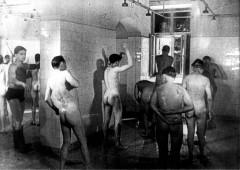 Theresienstadt, Czechoslovakia, 1944, Public showers, taken from a propaganda film. 2554164655074009431.jpg