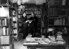 Theresienstadt, Czechoslovakia, 1944, Prof. Cohn and Prof Kantorowicz in the library, from a propaganda film16647818843887299916.jpg