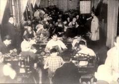 Theresienstadt, Czechoslovakia, 1944, A workshop in the ghetto, taken from a propaganda film. 1270521973526094211.jpg