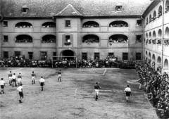 Theresienstadt, Czechoslovakia, 1944, A soccer match, taken from a propaganda film. 3180913967364285792.jpg