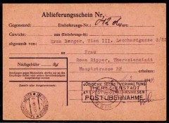 spedizione-pacco-da Vienna-a-lager-Theresienstadt, a parcel admission notice sent from Erna Berger in Vienna(25.2.44) to Rosa Ripper an inmate at Theresienstadt camp bearing.jpg