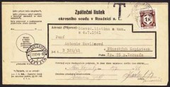 spedizione-pacco-da Vienna-a-lager-Theresienstadt,Theresienstadt, a parcel receipt sent to the ghetto by a Jewish friend or relative outside (since contact with Arians was forbidden) arrival postmark Terezin 11.VII.41.jpg